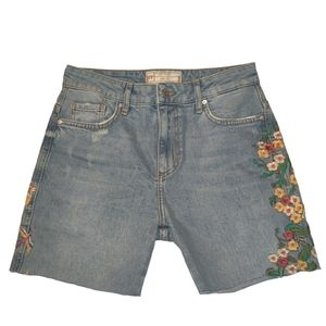 Free People Floral Embroidered Cut Off Shorts